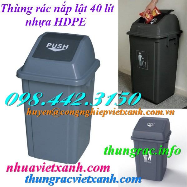 Thùng rác 40 lít nắp lật nhựa HDPE