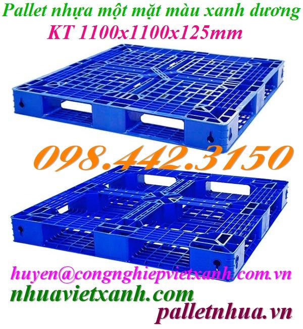 Pallet nhựa 1100x1100x125mm PL481 xanh dương