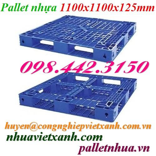 Pallet nhựa 1100x1100x125mm PL481 xanh
