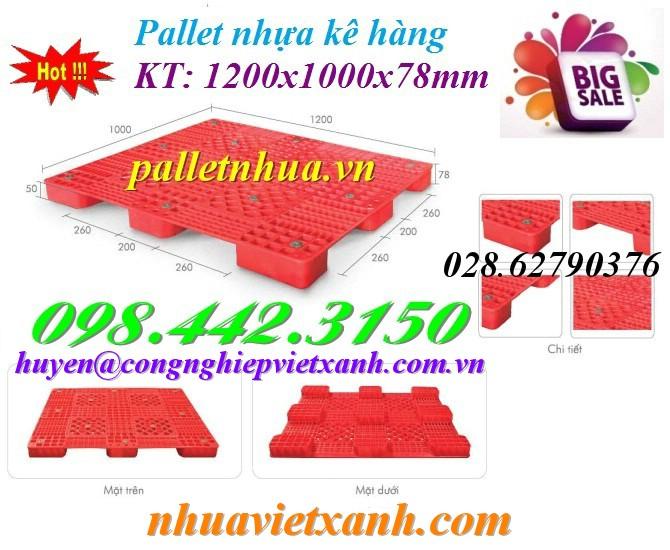 Pallet nhựa 1200x1000x78mm PL03LS