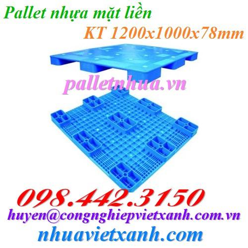 Pallet nhựa mặt liền 1200x1000x78mm