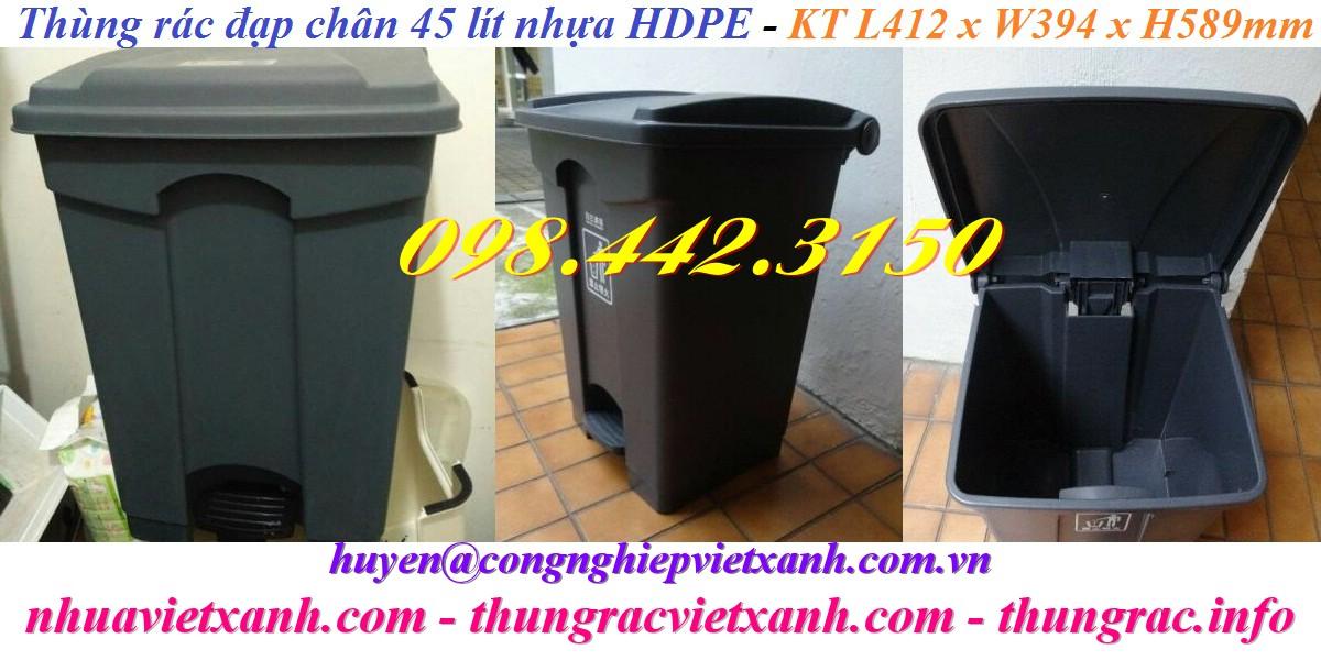 Thùng rác 45 lít đạp chân nhựa HDPE