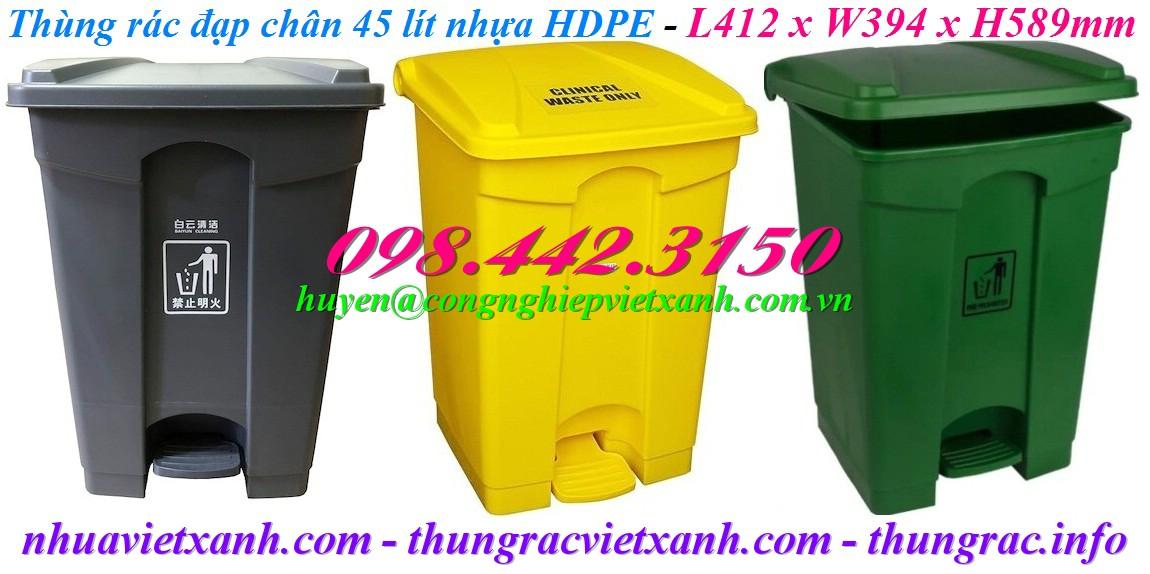 Thùng rác đạp chân 45L nhựa HDPE