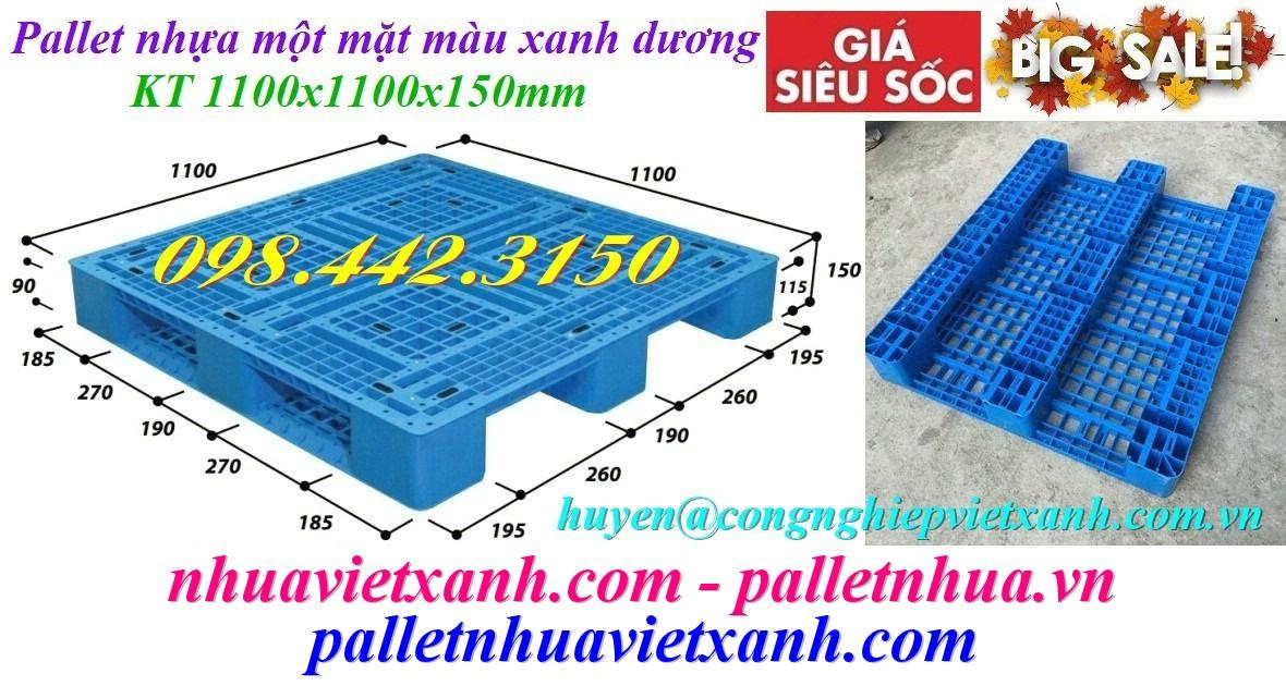 Pallet nhựa 1100x1100x150mm 3 đường thẳng xanh dương
