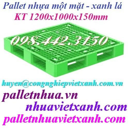 Pallet nhựa 1200x1000x150mm xanh lá giá rẻ
