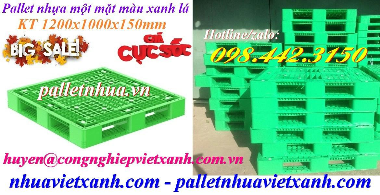 Pallet nhựa 1200x1000x150mm màu xanh lá