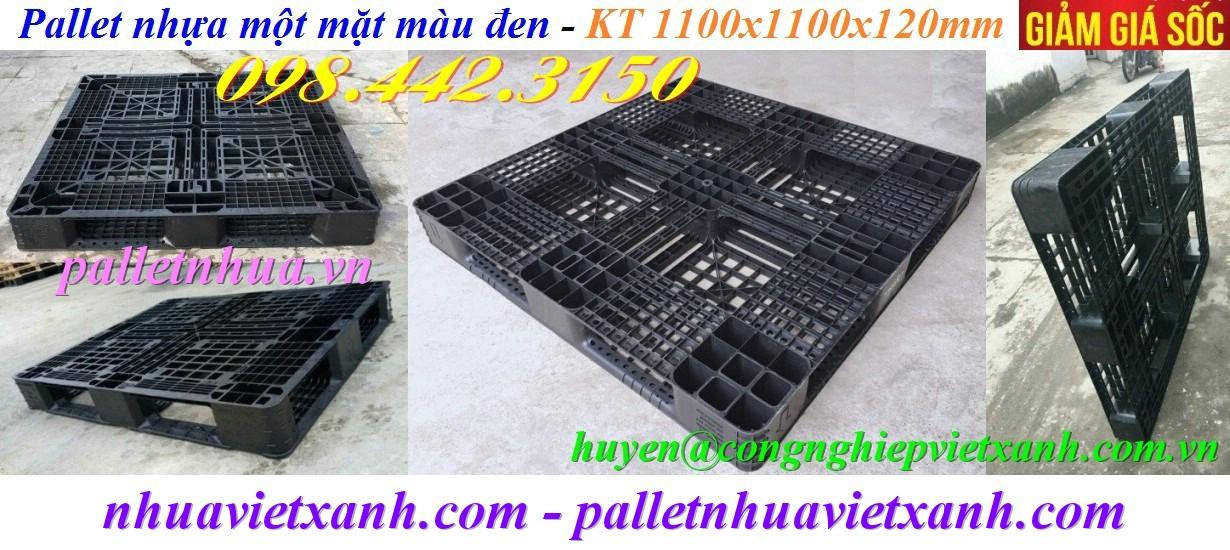 Pallet nhựa 1100x1100x120mm màu đen