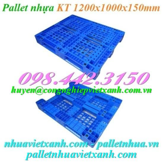 Pallet nhựa 1200x1000x150mm xanh dương PL10LK