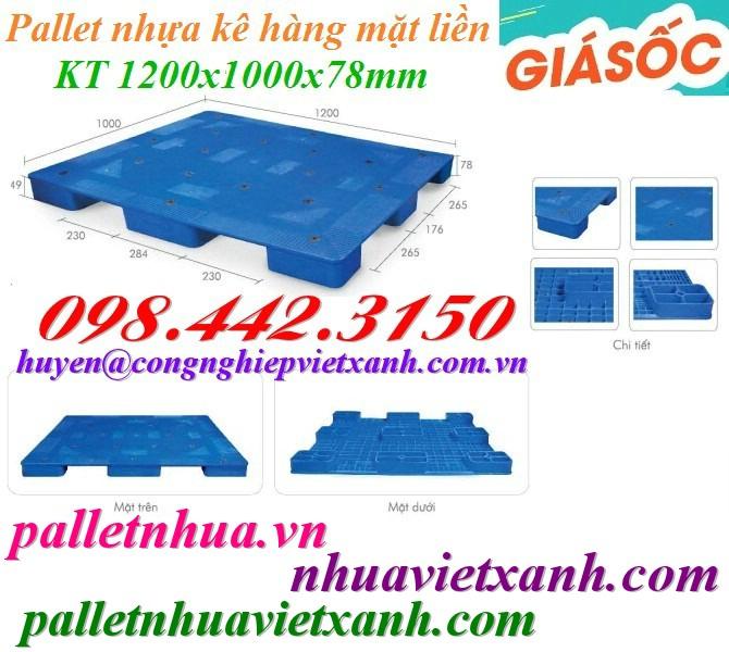 Pallet nhựa mặt liền cao 78mm PL02LS