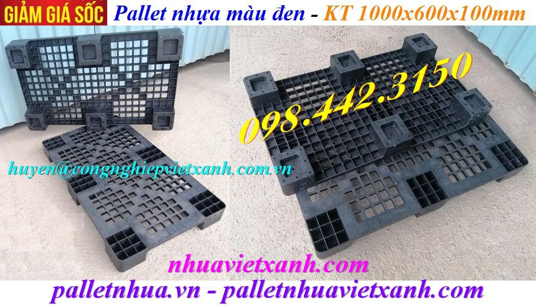 Pallet nhựa đen KT 1000x600x100mm