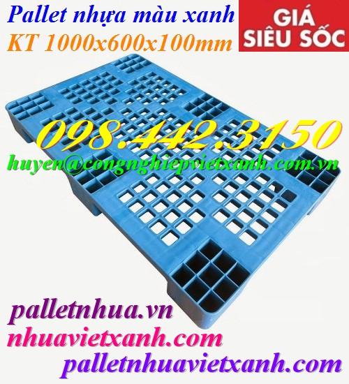 Pallet nhựa 1000x600x100mm màu xanh