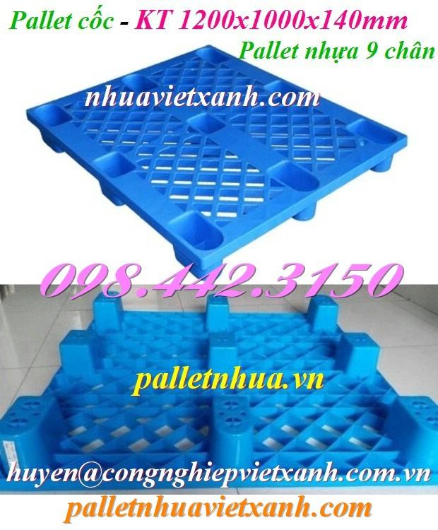 Pallet cốc 9 chân 1200x1000x140mm màu xanh