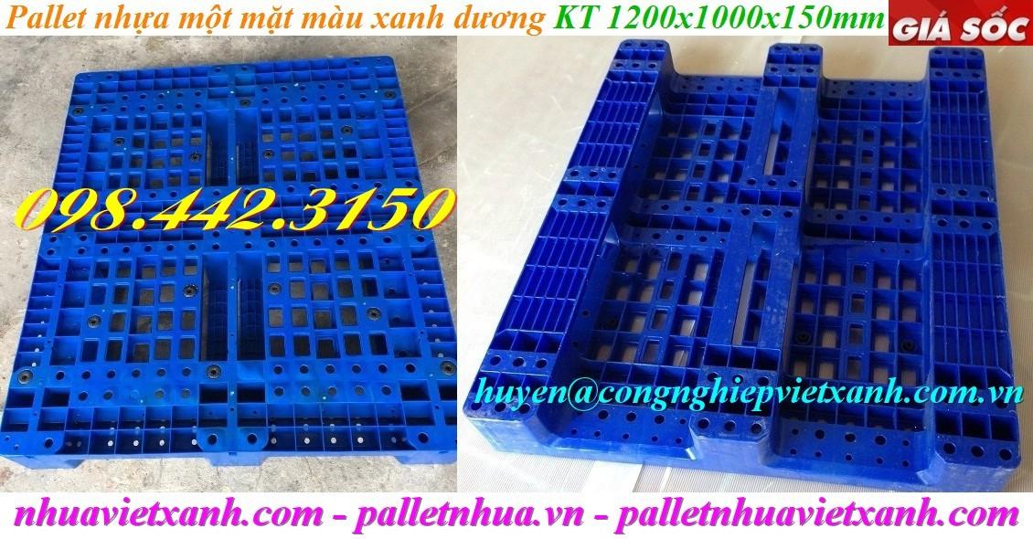 Pallet nhựa 1200x1000x150mm PL11LK xanh dương