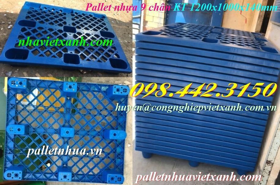 Pallet nhựa 1200x1000x140mm 9 chân màu xanh