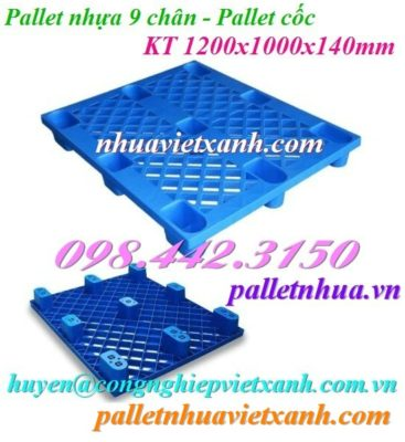 Pallet nhựa 9 chân 1200x1000mm xanh