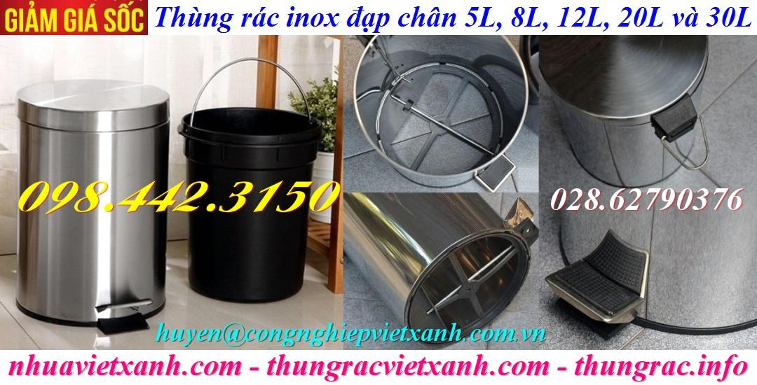 Thùng rác inox đạp chân giá rẻ 5L, 8L, 12L, 20L, 30L