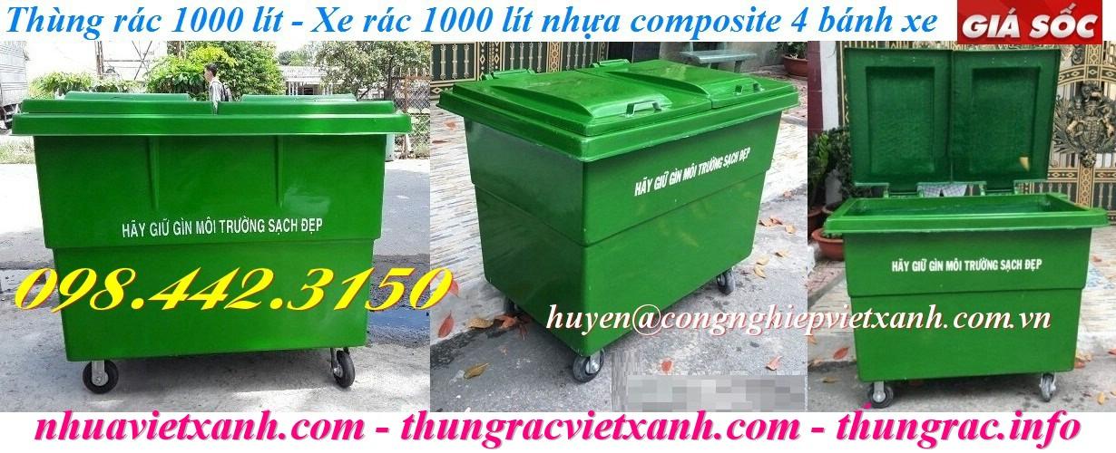 Thùng rác 1000 lít nhựa composite