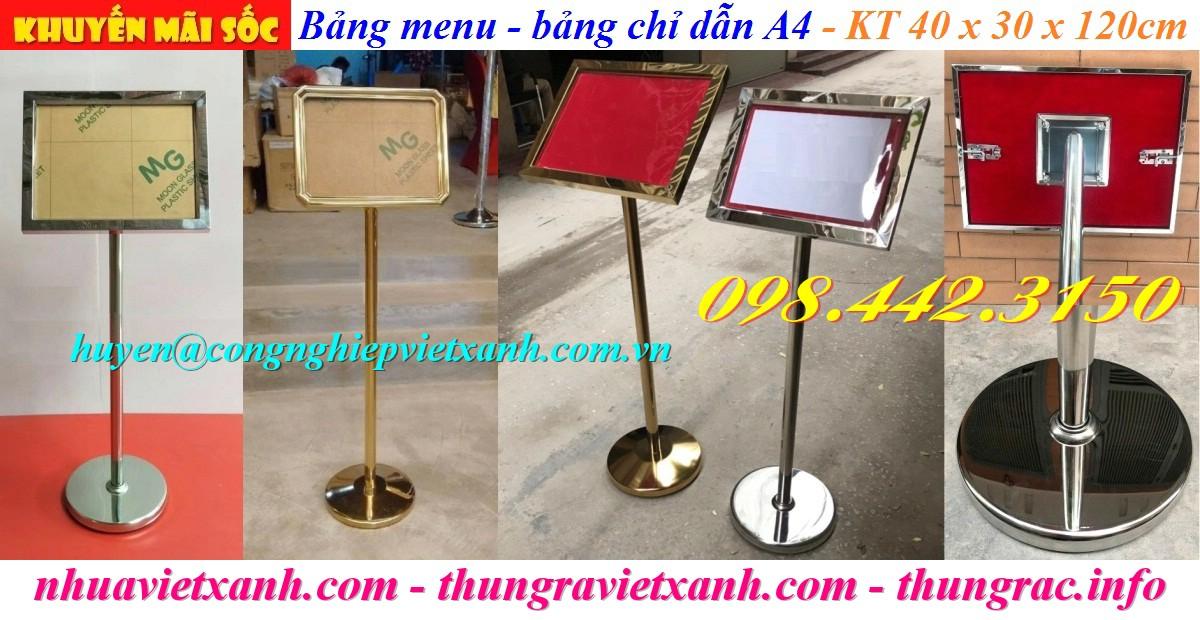 Bảng chỉ dẫn menu A4 inox mạ vàng
