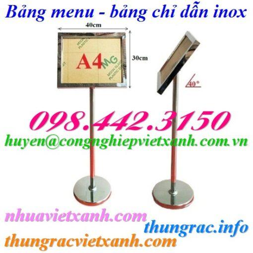 Bảng menu chỉ dẫn inox A4