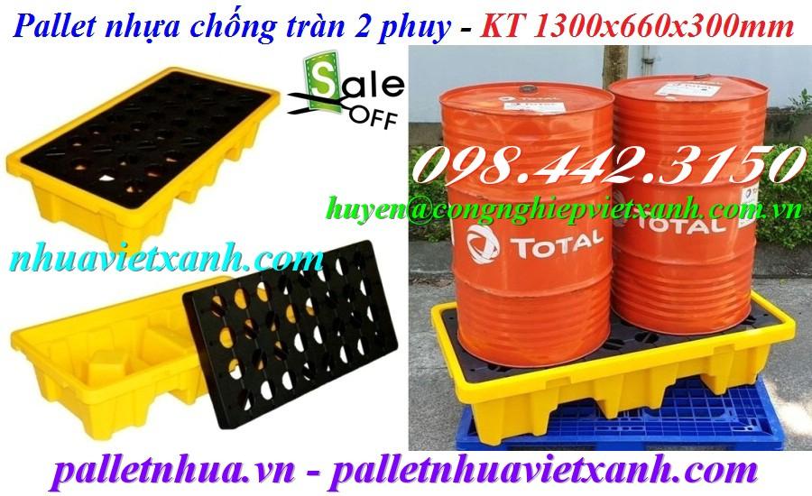 Pallet chống tràn dầu 2 phuy 1300x660x300mm
