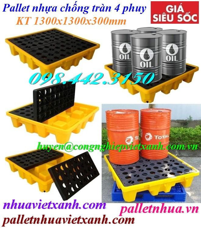 Pallet chống tràn dầu 4 phuy 1300x1300x300m