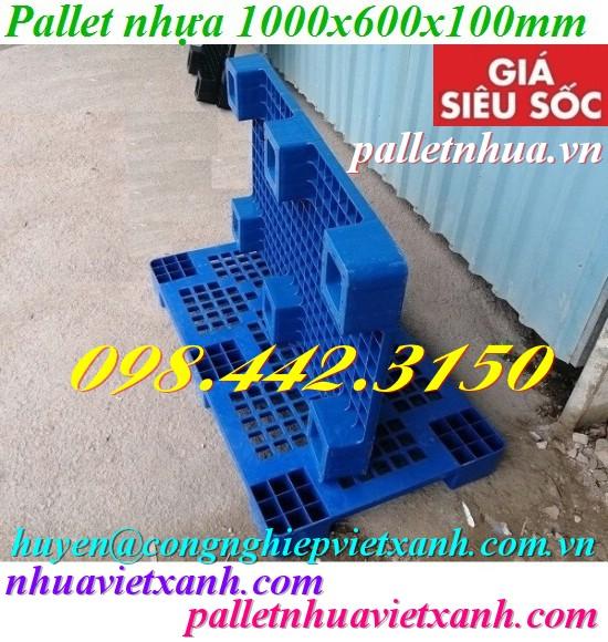Pallet nhựa 1000x600x100mm xanh dương