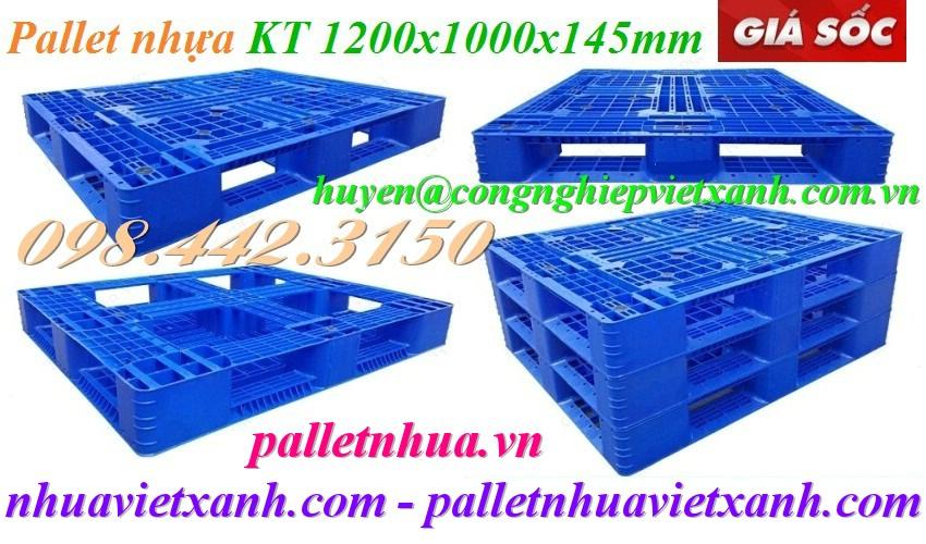 Pallet nhựa 1200x1000x145mm PL08LK xanh dương
