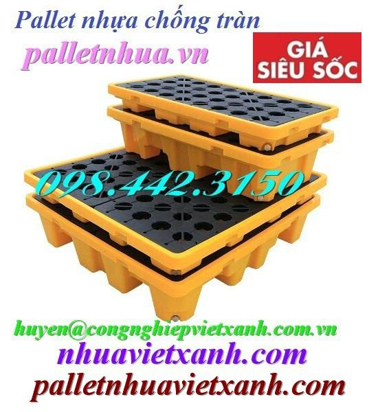 Pallet nhựa chống tràn dầu 2 phuy và 4 phuy