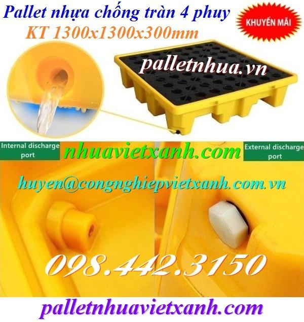 Pallet nhựa chống tràn dầu chỗ thoát dầu tràn