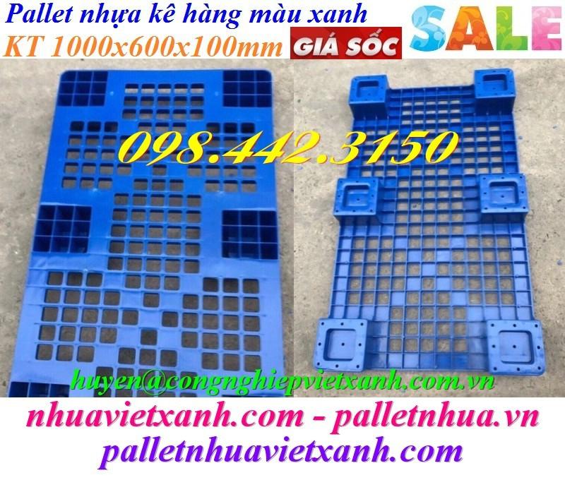 Pallet nhựa kê hàng 1000x600x100mm xanh dương