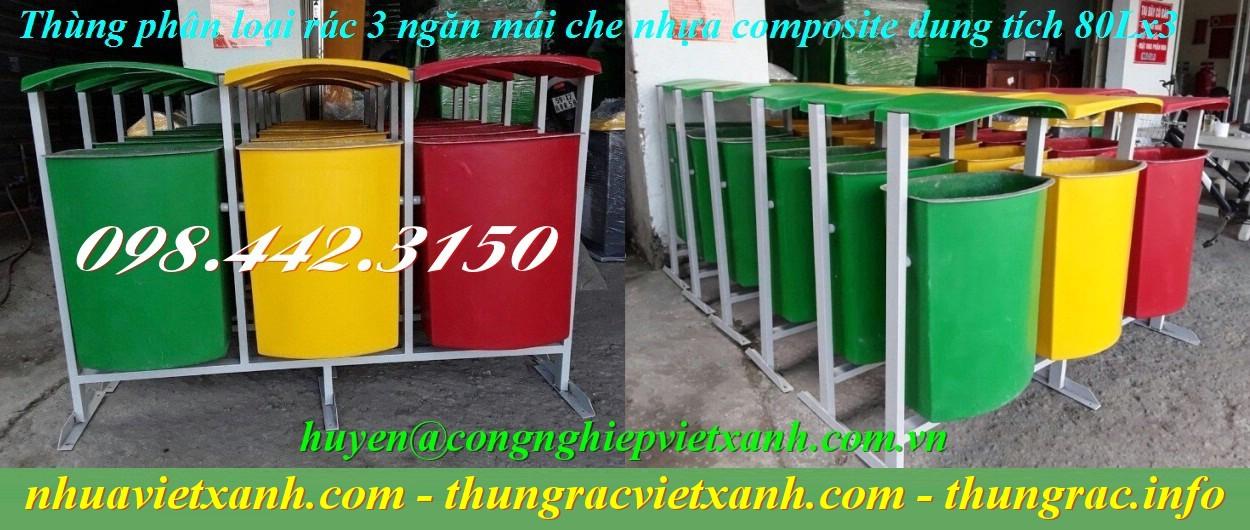 Thùng phân loại rác 3 ngăn nhựa composite có mái che