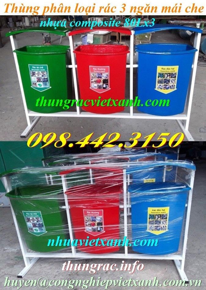 Thùng phân loại rác 3 ngăn nhựa composite mái che