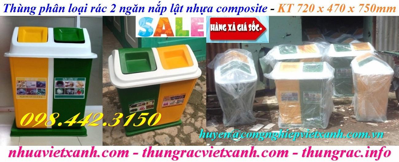 Thùng rác 2 ngăn nắp lật nhựa composite xanh vàng