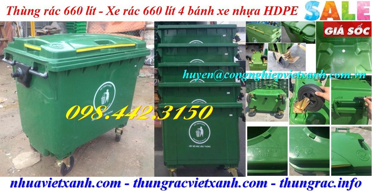 Thùng rác 660 lít nhựa HDPE 4 bánh xe