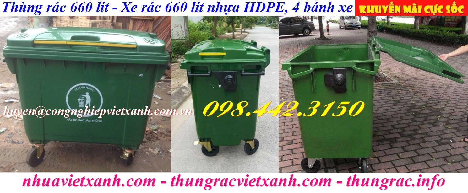 Thùng rác 660l nhựa HDPE 4 bánh xe