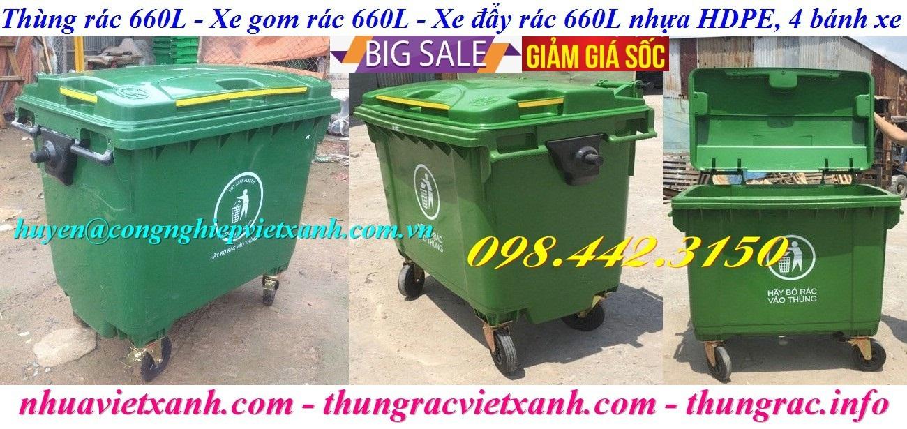 Xe đẩy rác 660 lít nhựa HDPE 4 bánh xe