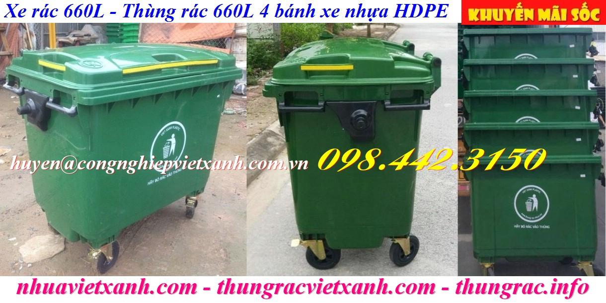 Xe rác 660 lít nhựa HDPE