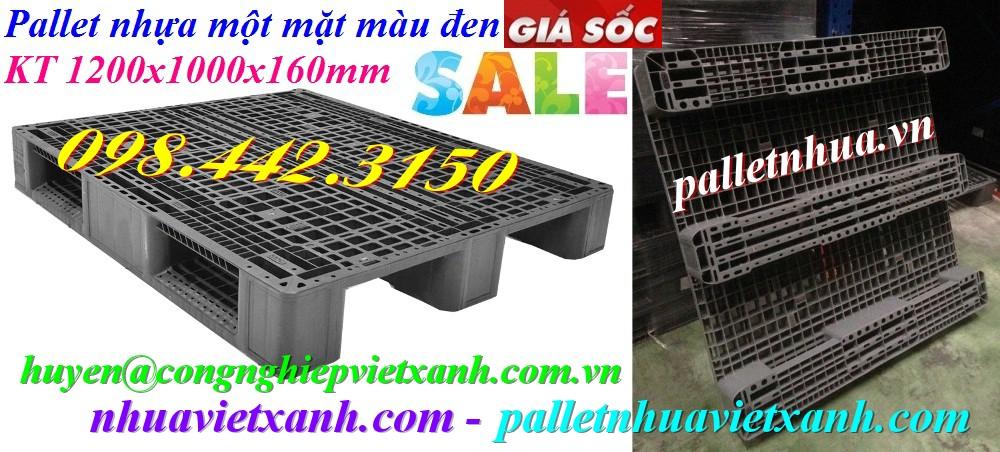 Pallet nhựa 1200x1000x160mm 3 đường thẳng màu đen