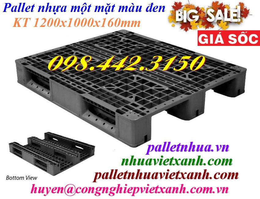 Pallet nhựa 1200x1000x160mm đen 3 đường thẳng