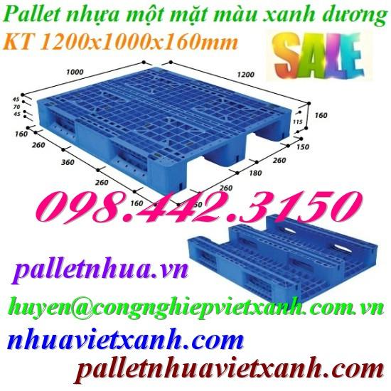 Pallet nhựa 1200x1000x160mm xanh dương