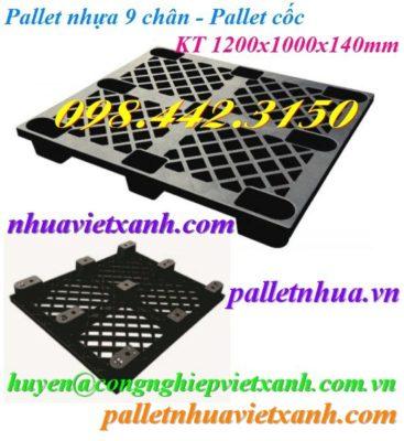 Pallet nhựa 9 chân 1200x1000mm đen