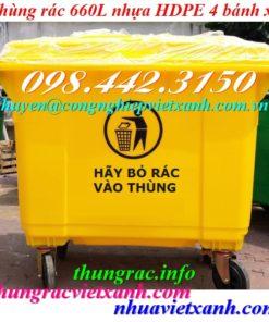 Thùng rác 660 lít nhựa HDPE màu vàng
