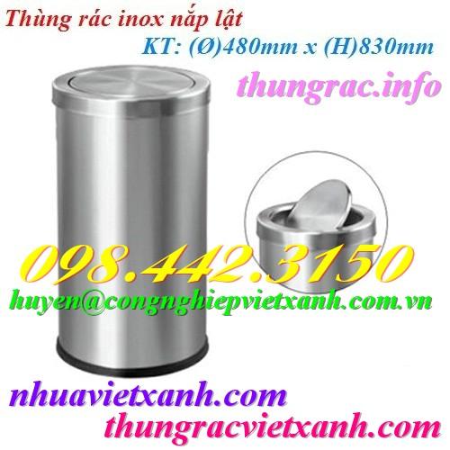 Thùng rác inox nắp lật 480x830