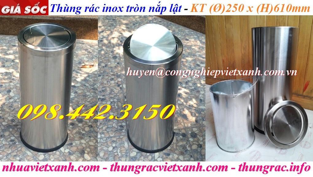 Thùng rác inox tròn nắp lật 250x610