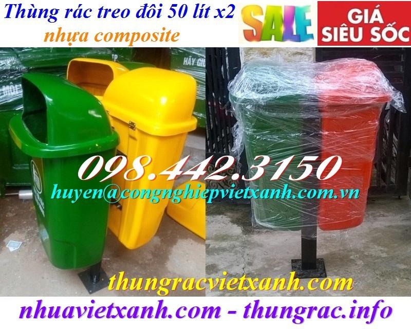 Thùng rác treo đôi 50 lít nhựa composite