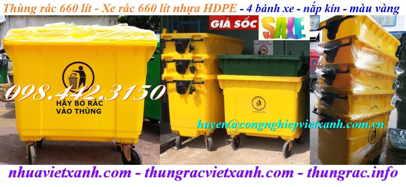 Xe rác 660 lít nhựa HDPE màu vàng