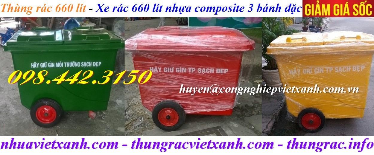 Thùng rác 660 lít composite 3 bánh đặc