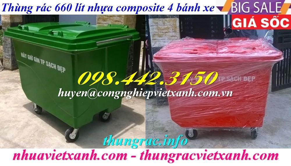 Thùng rác 660 lít composite 4 bánh xe