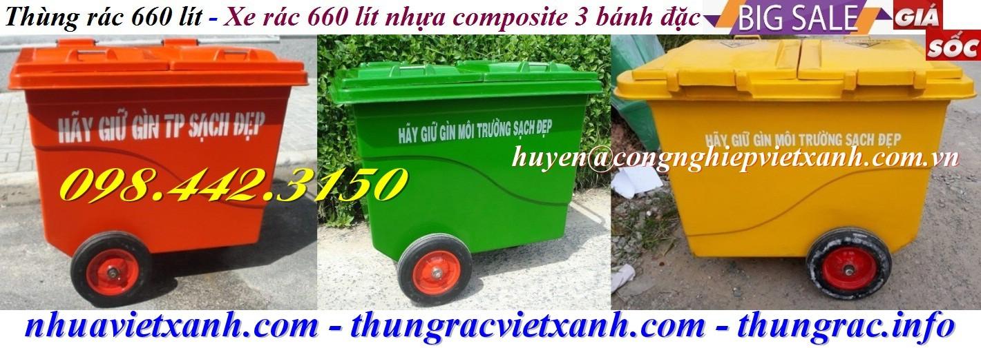 Thùng rác nhựa composite 660 lít 3 bánh đặc