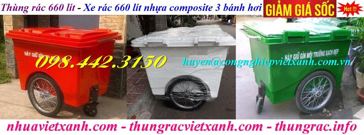 Thùng rác nhựa composite 660 lít 3 bánh hơi